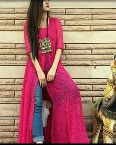 This post features New trendy ways to wear kurti with jeans and explore how to wear slit, short, long kurti and peplum with jeans. Kurti Designs Party Wear, Kurta Designs, Indian Attire, Indian Wear, Indian Style, Indian Designer Outfits, Designer Dresses, Indian Dresses, Indian Outfits