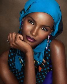 "Fatima Siad in ""The Ombré Lip"" by Rowan Papier for Nylon Magazine January 2017 Afro, Turban, Beautiful Black Women, Beautiful People, Fatima Siad, Facial, African Models, Ebony Beauty, Black Beauty"