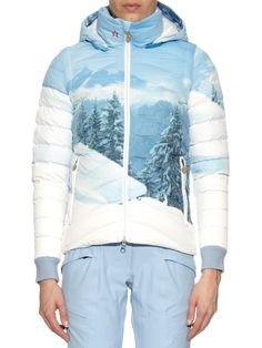 Bring your own snow this year . Women's 'Christy' mountain print quilted-down jacket Winter Suit, Fitness Gifts, Print Jacket, Holiday Travel, Snowboarding, Skiing, Hooded Jacket, Ski Outfits, Digital Prints