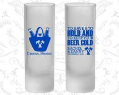 To Have and To Hold, Frosted Tall Shot Glass, Tropical Wedding, Beach Wedding (438)