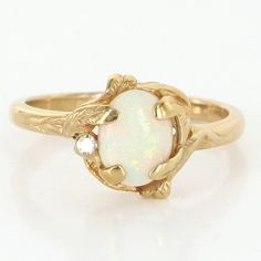 Vintage 10 Karat Yellow Gold Diamond Opal Cocktail Ring Fine Estate Jewelry