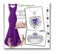 """""""Amethyst Heart Pendant from ApplesofGold.com!"""" by samra-bv ❤ liked on Polyvore featuring Steve Madden and LC Lauren Conrad"""