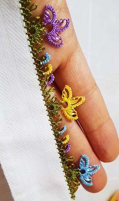 Çıtı Pıtı İnci Çiçekler İğne Oyası Modeli Yapılışı Chicken Scratch, Point Lace, Needle Lace, Lace Making, Bargello, Olay, Diy And Crafts, How To Make, Felting
