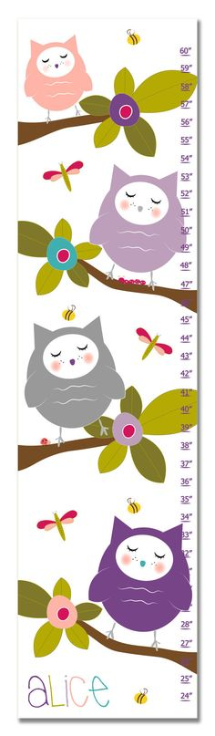 """Hoot Personalized Growth Chart - Purple Capture all of those special milestones in style with our Personalized Growth Charts. What a wonderful way to watch your child grow, inch by inch. Each 10"""" x 39"""