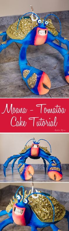 how to make a huge 3D carved Tamatoa cake - from Moana - structure, carving, decorating, etc... video tutorial - life sized coconut crab