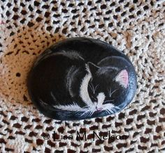 Sleeping Tuxedo Cat Painting on River Rock