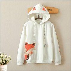 Cute little fox embroidery plus velvet hooded sweater yv2510
