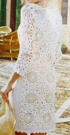 Cocktail dress MADE TO ORDER Crochet Dress custom made, hand made, crochet - cotton Vintage Irish Crochet Crochet Granny, Irish Crochet, Crochet Motif, Crochet Designs, Crochet Lace, Crochet Patterns, Crochet Skirts, Crochet Blouse, Crochet Clothes