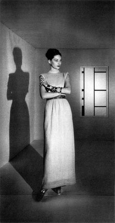 Hattie Carnegie evening dress, photographed by John Rawlings forVogue, 1945.