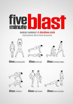 If you only have five minutes to burn and want a workout that will push your pulse through the roof, make you sweat and up your bodys fuel burn rate then the Five Minute Blast is the workout for you.