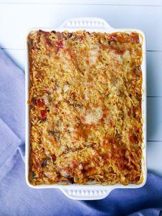 Gratin d'aubergines et colin au curry