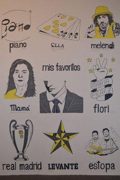 Nueve ilustraciones que representan mi mundo, Mis favoritos. Piano, Ella, Melendi, Mamá. María Pérez (flori, mi mejor amiga) , Real Madrid y la décima, Estrella de levante y mis compañeros de piso, (murcia) y por último,  Estopa.