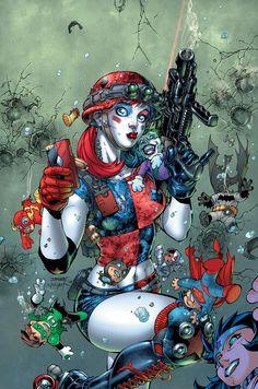 """HARLEY_QUINN_AND_THE_SUICIDE_SQUAD_APRIL_FOOLS_SPECIAL_1Harley ha sido una de las propiedades más calientes de DC en los últimos años con su serie en solitario escrito por Jimmy Palmiotti y Amanda Conner ser uno de los títulos más vendidos para DC.  DC incluso fue tan lejos como para lanzar una segunda serie que ofrece Harley, """"Pequeño Libro Negro de Harley"""", con subidas del equipo entre Harley Quinn y otros personajes de DC"""