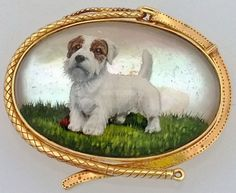 STUNNING VICTORIAN OVAL ESSEX CRYSTAL TERRIER DOG 14K SOLID GOLD BROOCH PIN, $3,000.00