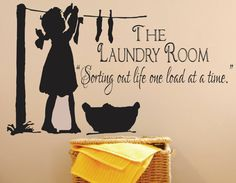 Laundry Sign-The Laundry Room Decal -Sorting Out Life . Vinyl wall decal, vinyl transfer, laundry quote with laundry girl. x 28 W via Etsy ***Wish it had a little boy hanging laundry too! Laundry Room Decals, Laundry Room Signs, Laundry Quotes, Laundry Storage, Laundry Shop, Vinyl Signs, Blog Deco, Clothes Line, Vinyl Wall Decals