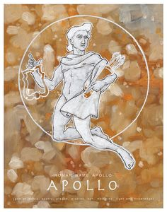 Greek and Roman Gods Apollo God of the Sun - Olympians Art Print 11 x 14 Greek And Roman Mythology, Greek Gods, Roman Gods, Sacred Plant, Old Testament, Aphrodite, Deities, Romans, Witch