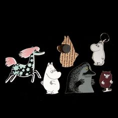 Moomin magnet set 3. This set includes the following characters: Moomintroll, Stinky, The Groke and Primadonna's horse.