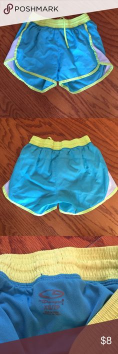 Champion Running Shorts EUC - no rips or stains. Liner in great condition. 100% polyester. Turquoise blue and bright yellow color. Smoke free home. Champion Shorts