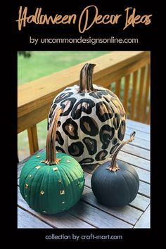 This awesome Halloween decor ideas can be easily replicated at home using Dollar Sore pumpkins and gold, black and green paint. Most importantly, you don't have to be a master painter to recreate this look! Actually, your imperfect leopard spots will give this pumpkin a handmade charm.