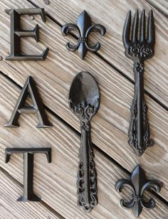 Fleur De Lis Kitchen Decor Shabby Gift Ideas Wall Decor Cast Iron Fork Spoon #modern