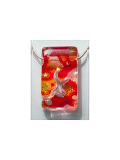 Small Dichroic  Pendant  - Inner Path Rectangle - Silver Dichroic, Red, Orange, Yellow Glass