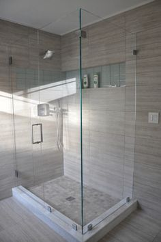 glass shower enclosure and big tile Bathroom Floor Tiles, Bathroom Renos, Small Bathroom, Concrete Bathroom, White Bathrooms, Luxury Bathrooms, Bathroom Doors, Master Bathrooms, Dream Bathrooms