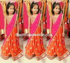 Kids Designer Lehenga/Half Saree – Pretty girl in beautiful orange and pink combination half saree paired with pearl work blouse, designed by Mrunalini Rao. Long Frocks For Girls, Little Girl Dresses, Girls Dresses, Kids Blouse Designs, Dress Designs, Kids Party Wear Dresses, Kids Ethnic Wear, Half Saree Designs, Wise Girl