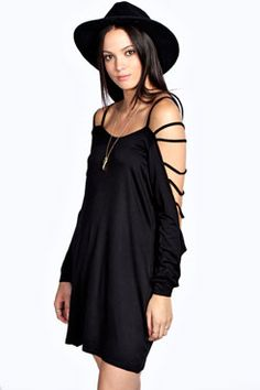 Kendall Cage Sleeve Detail Dress at boohoo.com