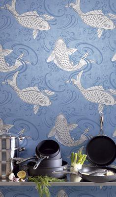 Vanhempien makuuhuoneen tapettivaihtoehto thibaut kirkos for Koi wallpaper for walls