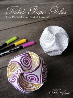 Hattifant - Triskele Paper Globes - Paper Balls to color and craft - Free printables and video tutorial Want fantastic tips on arts and crafts? Go to my amazing website! 3d Paper Crafts, Paper Toys, Diy Paper, Fun Crafts, Arts And Crafts, Creative Crafts, 3d Templates, Paper Balls, Craft Free