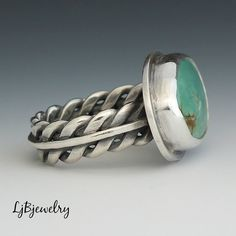 Silver Ring, Turquoise Ring, Battle Mountain Turquoise, Sterling Silver, Handmade Jewelry, Metalsmith, Size 8.25  A lovely ring made of sterling
