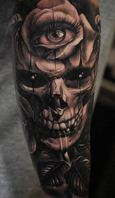Tattoos For Guys Badass, Cool Arm Tattoos, Dope Tattoos, Body Art Tattoos, Hand Tattoos, Evil Skull Tattoo, Evil Tattoos, Skull Sleeve Tattoos, Tattoo Sleeve Designs
