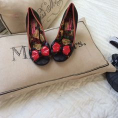 Betsy Johnson Heels These shoes are cute but have some wear on the footing fabric the soles are in great shape comfy but too high for me price firm Betsey Johnson Shoes Heels
