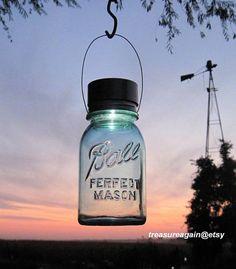 Outdoor Lantern Mason Jar Solar Hanging Light by treasureagain, $21.75