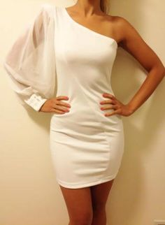 White One Shoulder Cocktail Party Dress, Evening Dress,  Dress, chiffon dress  sexy dress, Chic