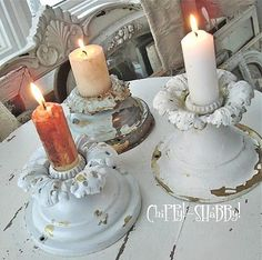 Old Light Fixtures For Candle Holders, So Cute!