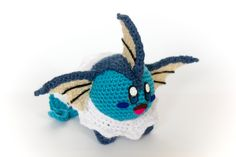 Crochet Vaporeon Kirby Amigurumi (wired) **Made to order** by PersnicketyPrecision on Etsy