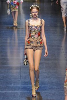 Dolce & Gabbana A/W 12/13....love the top! Wondering where her pants are though....lol