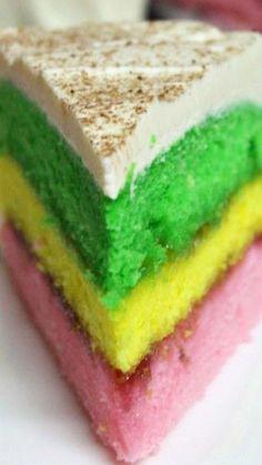 Easy Italian Rainbow Cookie Cake Recipe ~ Love Italian rainbow cookies but want the hassle of making them? Try this easy Italian rainbow cake that looks a tastes just like Italian rainbow cookies. Just Desserts, Delicious Desserts, Dessert Recipes, Easy Italian Desserts, Spring Desserts, Dessert Dishes, Cupcake Recipes, Italian Recipes, Yummy Food