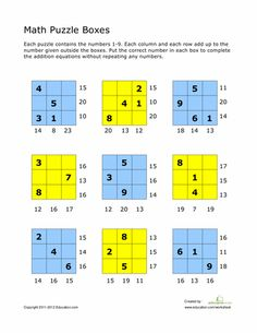 Second Grade Math Worksheets: Addition Math Puzzles Mental Maths Worksheets, Maths Puzzles, Math Resources, Math For Kids, Fun Math, Math Addition, Addition Facts, Math Enrichment, Math Challenge