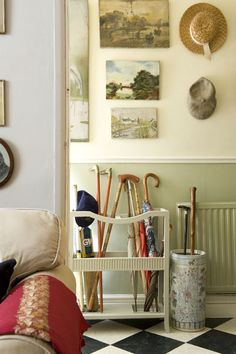 Hallway, taken for the English Home Magazine shoot  (canes, hats, unframed paintings)