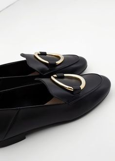 Appliqué leather loafers