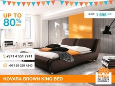 This stylish Novara king size bed makes a great addition to any bedroom decor. The wrapped in brown faux leather bed has an elegant slanted headboard divided by stitching on two parts. There is no need to search further. This contemporary bed has comfort, affordability and trendy look in one package. More details: http://gtfshop.com/novara-brown-bed