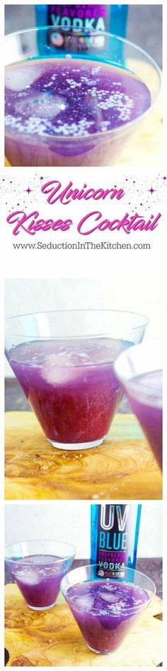 Unicorn Kisses Cocktail is a whimsical, fun adult drink. The tart meets sweet with then it is sprinkled with shimmer, this drink will be the hit of your party.