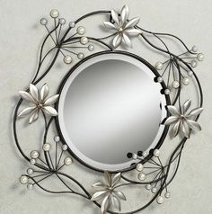 Cool & funky metal wall mirror with branches, leaves & flowers with pearl buds
