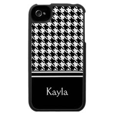 Black And White Houndstooth iphone 4 case