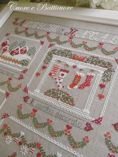 Gorgeous cross stitch sampler for Christmas