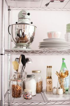 How to Style Wire Shelves for a Living Space & Kitchen // styling by Alaina Kaczmarski // shelving // storage // kitchen // organizing // // photography by Jennifer Kathryn Farmhouse Style Kitchen, Modern Farmhouse Kitchens, Cool Kitchens, Open Kitchen, Kitchen Dining, Kitchen Decor, Space Kitchen, Open Pantry, Kitchen Ideas