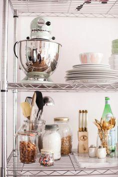 How to Style Wire Shelves for a Living Space & Kitchen // styling by Alaina Kaczmarski // shelving // storage // kitchen // organizing // #decor // photography by Jennifer Kathryn