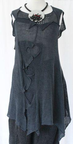 AMAZING ZUZA BART CREATION asymmetric 100% linen applique knit tunic size LARGE #ZUZABART
